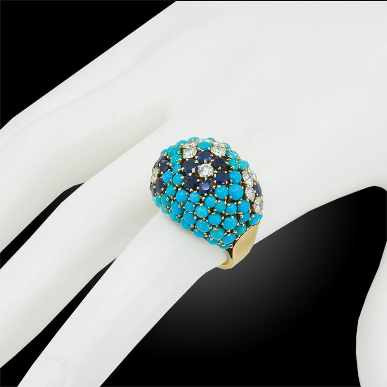 Women's Van Cleef & Arpels Bagatelle Diamond Turquoise Yellow Gold Bombe Ring For Sale