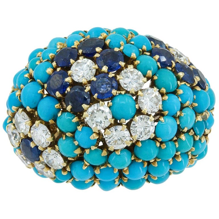 Van Cleef & Arpels Bagatelle Diamond Turquoise Yellow Gold Bombe Ring For Sale
