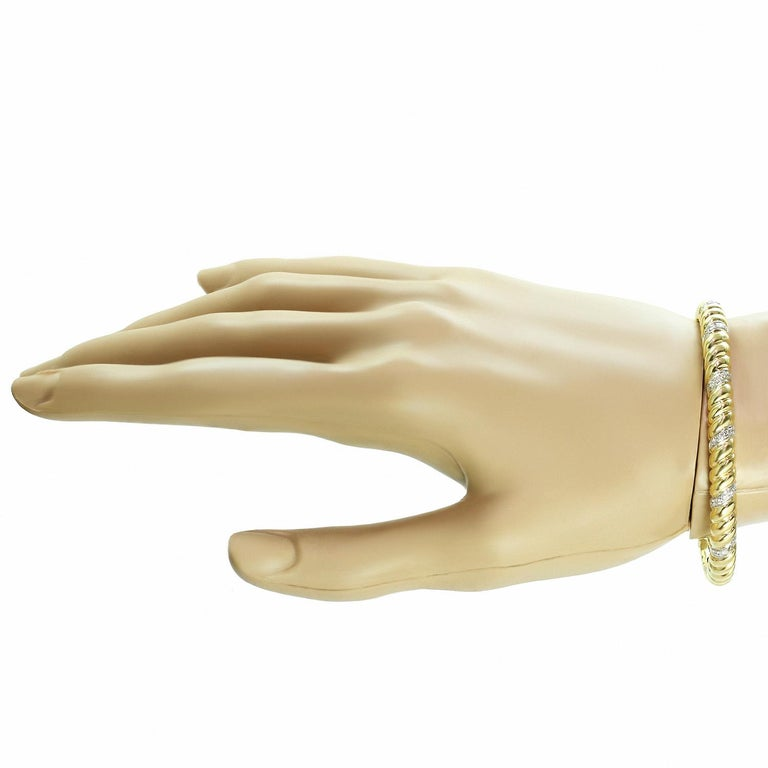 Van Cleef & Arpels Diamond Two-Tone Yellow Gold Cuff Bracelet In Excellent Condition For Sale In New York, NY