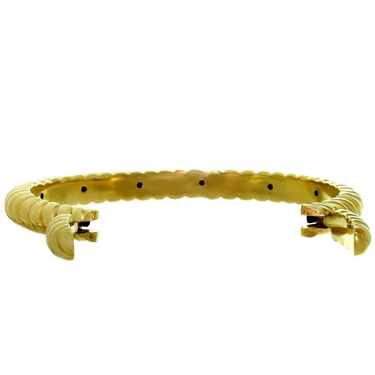 Women's Van Cleef & Arpels Diamond Two-Tone Yellow Gold Cuff Bracelet For Sale