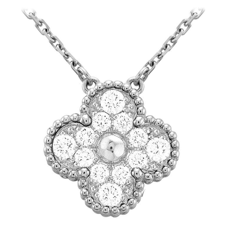 Van Cleef & Arpels Diamond Vintage Alhambra Pendant 18 Karat White Gold For Sale