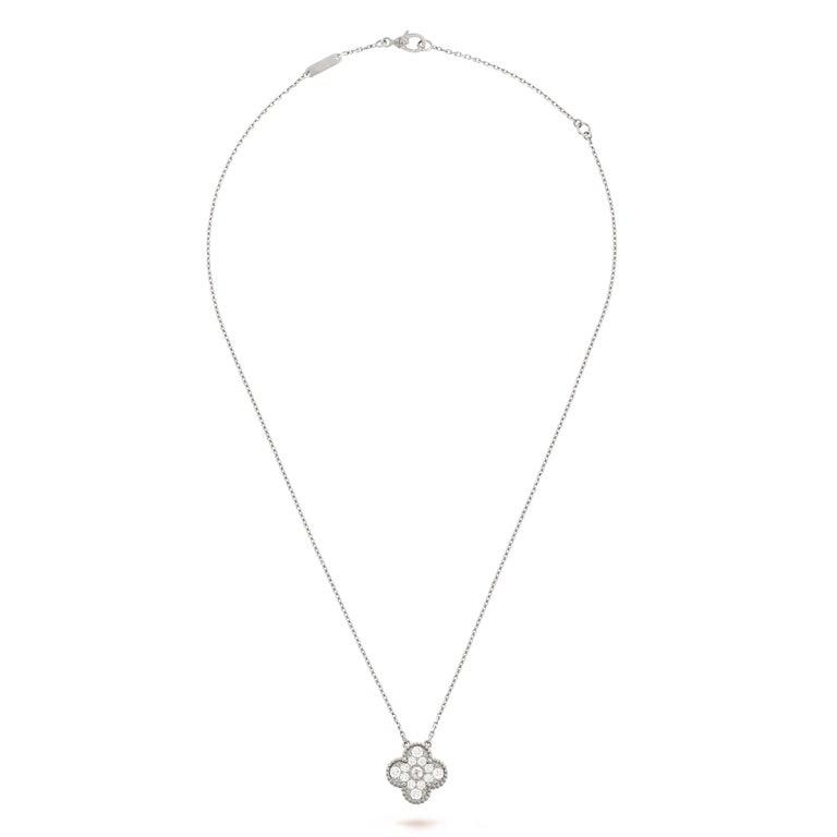 Round Cut Van Cleef & Arpels Diamond Vintage Alhambra Pendant 18 Karat White Gold For Sale