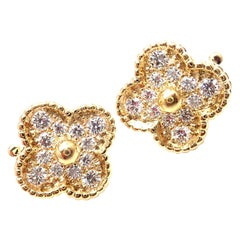 Van Cleef & Arpels Diamond Vintage Alhambra Yellow Gold Earrings