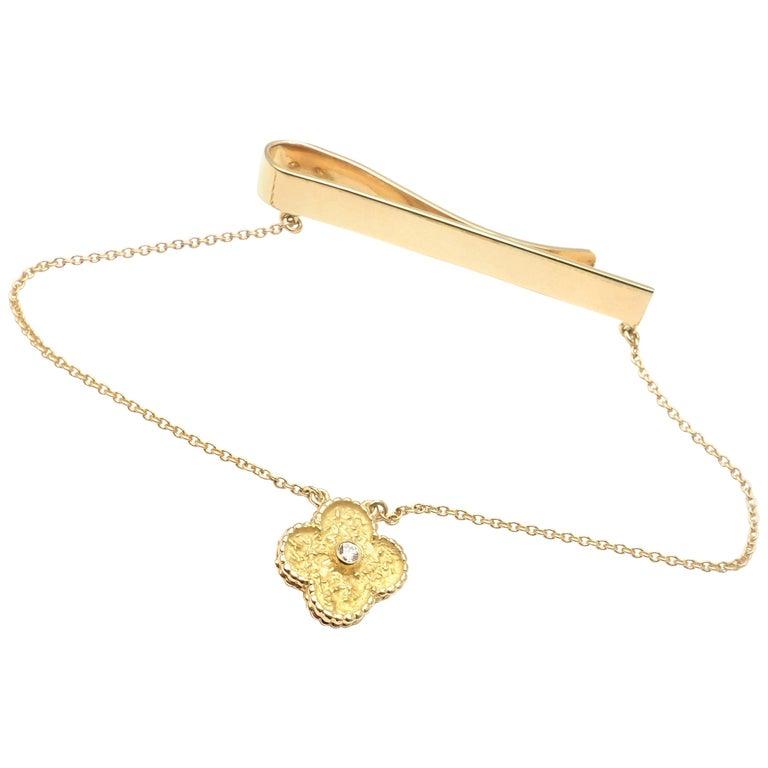 Van Cleef & Arpels Diamond Vintage Alhambra Yellow Gold Tie Clip For Sale