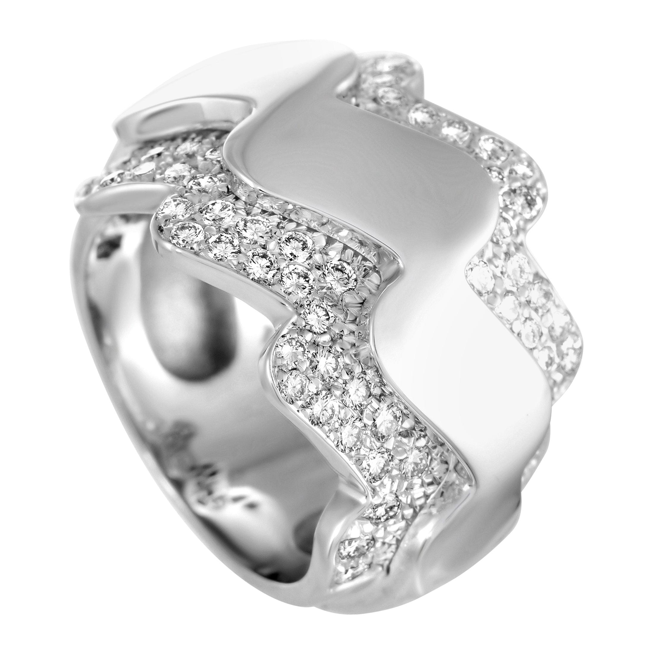 Van Cleef & Arpels Diamond Wave White Gold Band Ring