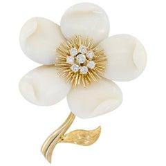 Van Cleef & Arpels Diamond, White Coral Flower Brooch