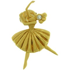 Van Cleef & Arpels Diamond Yellow Gold Ballerina Pin Brooch