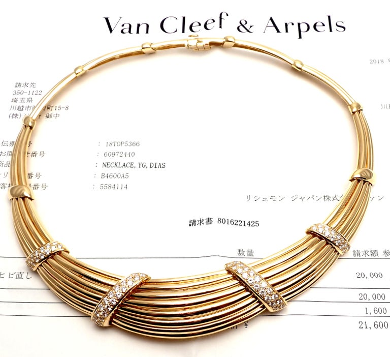 Van Cleef & Arpels Diamond Yellow Gold Choker Necklace For Sale 8