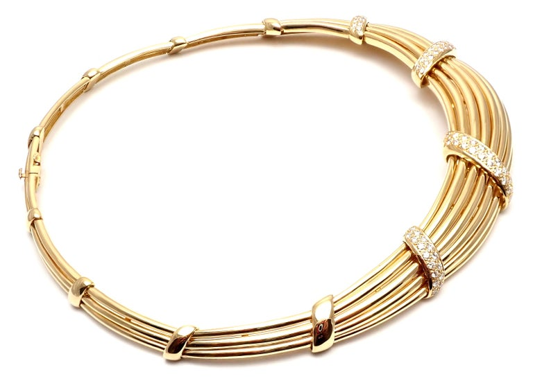 Van Cleef & Arpels Diamond Yellow Gold Choker Necklace For Sale 2