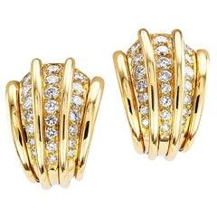 Van Cleef & Arpels Diamond Yellow Gold Clip-On Earrings