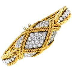 Van Cleef & Arpels Diamond Yellow Gold Ladies Watch Bracelet