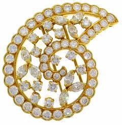 Van Cleef & Arpels Diamond Yellow Gold Pin Brooch Clip