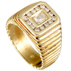 Van Cleef & Arpels Diamond Yellow Gold Ribbed Rectangle Ring