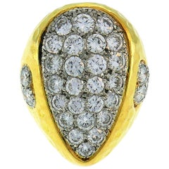 Van Cleef & Arpels Diamond Yellow Gold Ring, 1980s