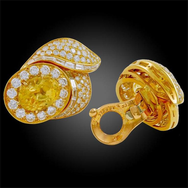 Van Cleef & Arpels Diamond Yellow Sapphire Necklace Suite For Sale 4