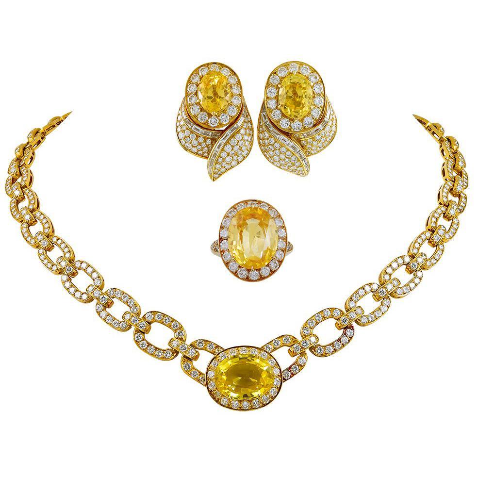 Van Cleef & Arpels Diamond Yellow Sapphire Necklace Suite