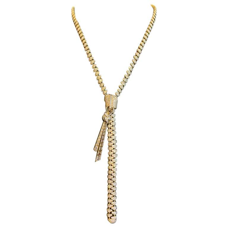Van Cleef & Arpels Diamond Zipper Drop Necklace For Sale
