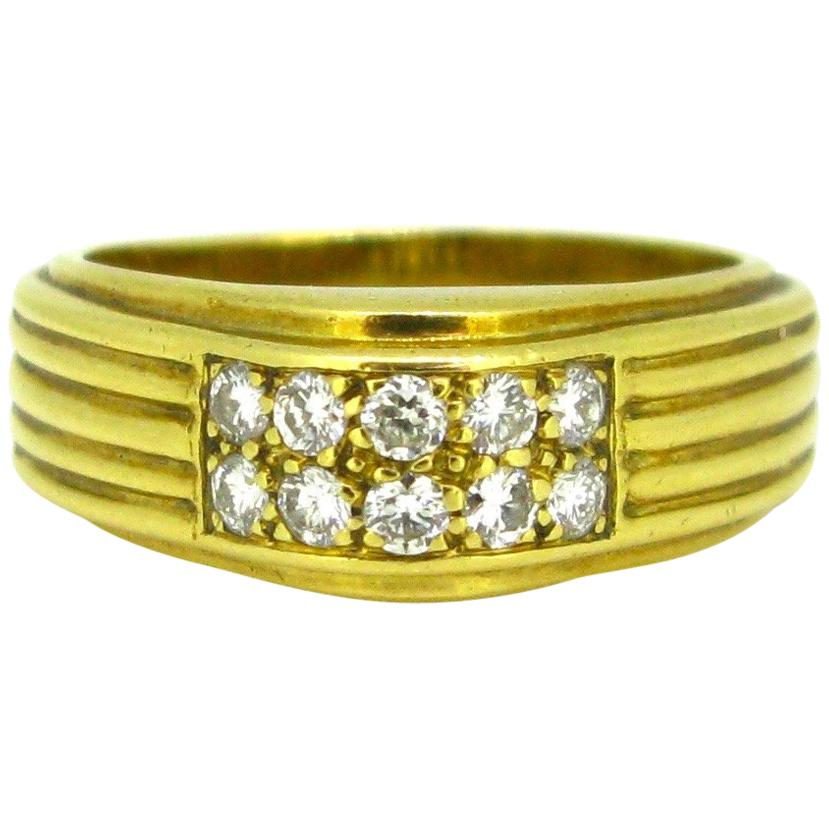 Van Cleef & Arpels Diamonds Textured Ribbed Yellow Gold Band Ring