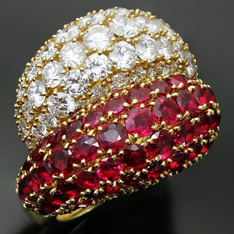 Van Cleef And Arpels Double Boule Diamond Ruby Yellow Gold