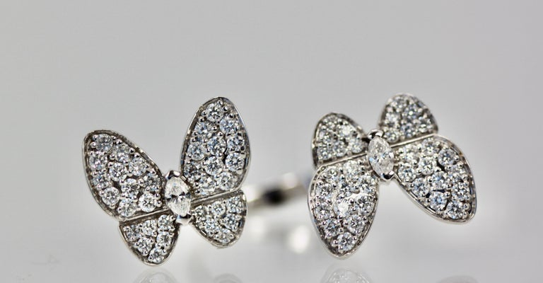 Van Cleef & Arpels Double Butterfly Diamond Ring In Good Condition For Sale In North Hollywood, CA