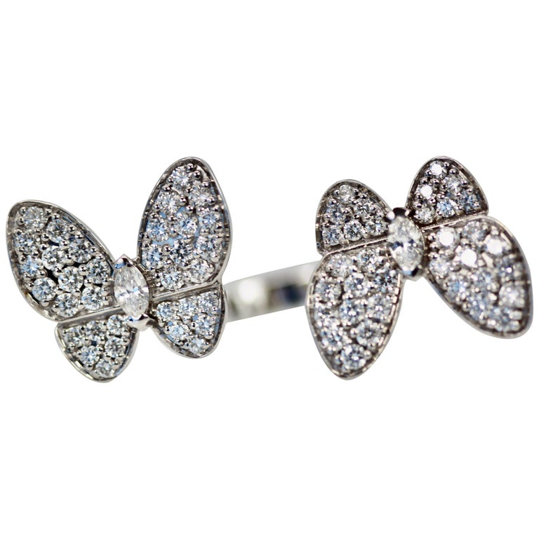 Van Cleef & Arpels Double Butterfly Diamond Ring For Sale