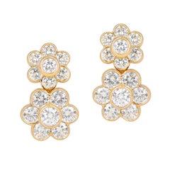 Van Cleef & Arpels Double Fleurette 4.25 Ct. Diamond Clip-On Earrings, 18k Gold