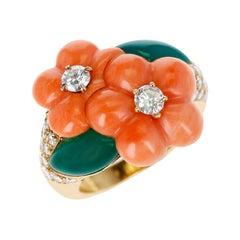Van Cleef & Arpels Double Flower Coral, Chrysoprase, 0.96 Ct. Diamond Ring, 18k