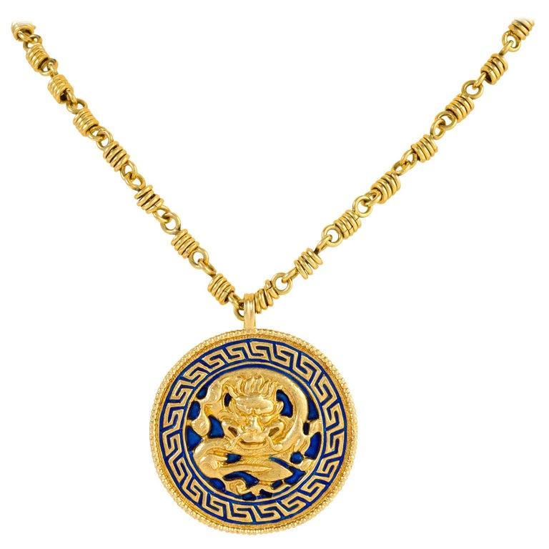 Van Cleef & Arpels Dragon Zodiac Pendant Necklace For Sale