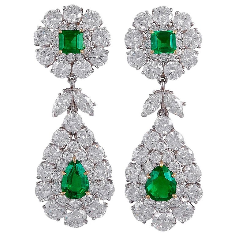 Van Cleef & Arpels Emerald and Diamond Earrings For Sale