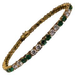 Van Cleef & Arpels Emerald and Diamond Line Bracelet 18 Karat Yellow Gold
