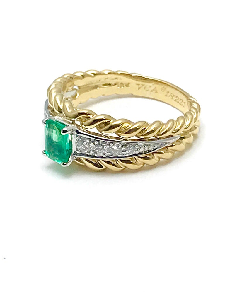 Emerald Cut Van Cleef & Arpels Emerald and Diamond Platinum and Yellow Gold Ring For Sale