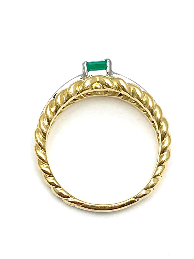 Women's or Men's Van Cleef & Arpels Emerald and Diamond Platinum and Yellow Gold Ring For Sale