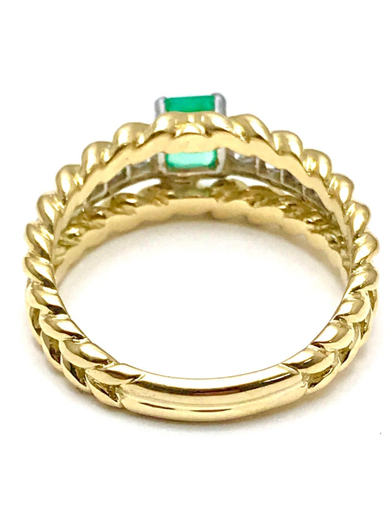 Van Cleef & Arpels Emerald and Diamond Platinum and Yellow Gold Ring For Sale 1