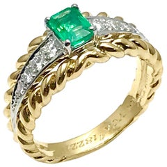 Van Cleef & Arpels Emerald and Diamond Platinum and Yellow Gold Ring