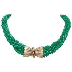 Van Cleef & Arpels Emerald Beads Diamond Choker Necklace
