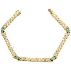 Van Cleef & Arpels Emerald, Diamond and 18 Karat Gold Bracelet