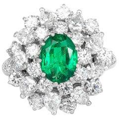 Van Cleef & Arpels Emerald Diamond Cluster Ring