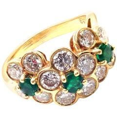 Van Cleef & Arpels Emerald Diamond Fleurette Flower Yellow Gold Band Ring