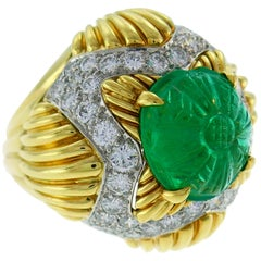Van Cleef & Arpels Emerald Diamond Gold Bombe Ring, 1970s
