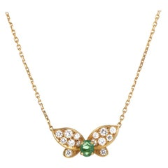 Van Cleef & Arpels Emerald Diamond Gold Butterfly Pendant Necklace