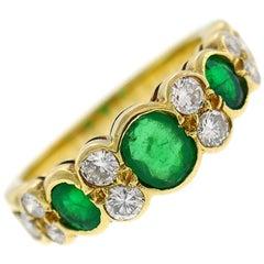 Van Cleef & Arpels Emerald Diamond Gold Ring, 1970s