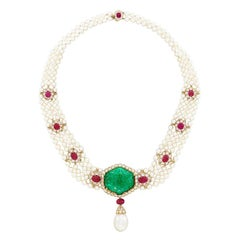 Van Cleef & Arpels Emerald Pearl Ruby Necklace