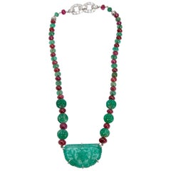 Van Cleef & Arpels Emerald Ruby Diamond Necklace