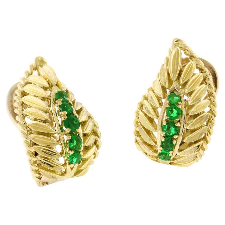 Van Cleef & Arpels Emerald Wing Earrings For Sale