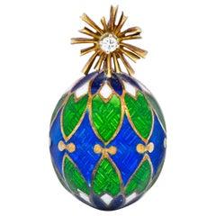 Van Cleef & Arpels Enamel Diamond 14 Karat Gold Egg Pendant Charm