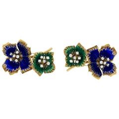 Van Cleef & Arpels Enamel Diamond Flower Brooch, Pair