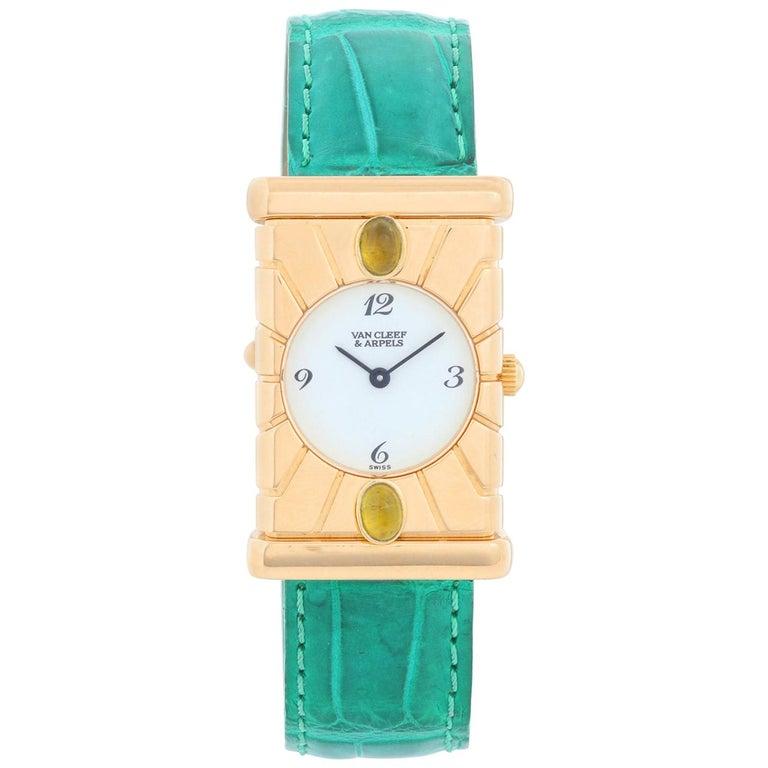Van Cleef & Arpels Façade 18 Karat Yellow Gold Vintage Watch For Sale