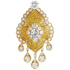 Van Cleef & Arpels Fancy Yellow and White Diamond Brooch/Pendant