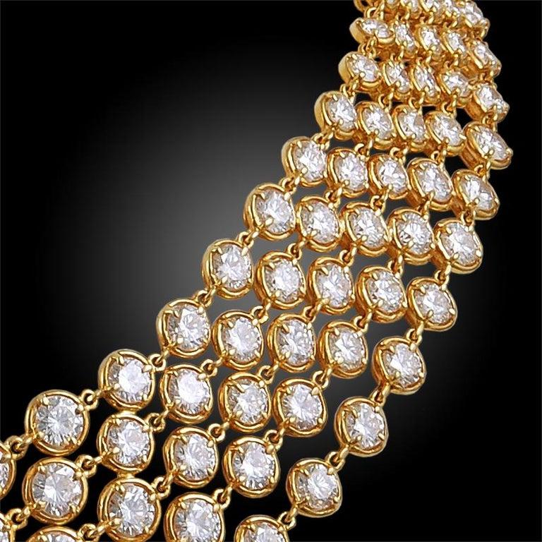 Round Cut Van Cleef & Arpels Five-Row Diamond Link Necklace For Sale