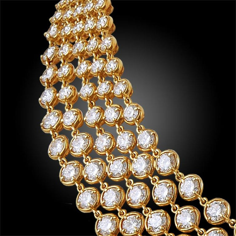 Van Cleef & Arpels Five-Row Diamond Link Necklace In Good Condition For Sale In New York, NY